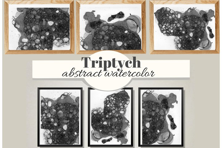 Abstract trendy lodge wall art.Watercolor SMOKY black stains