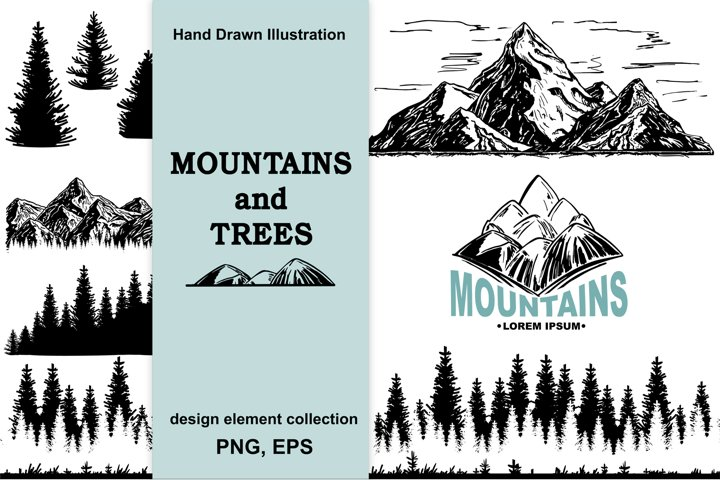 Mountains and trees sketch