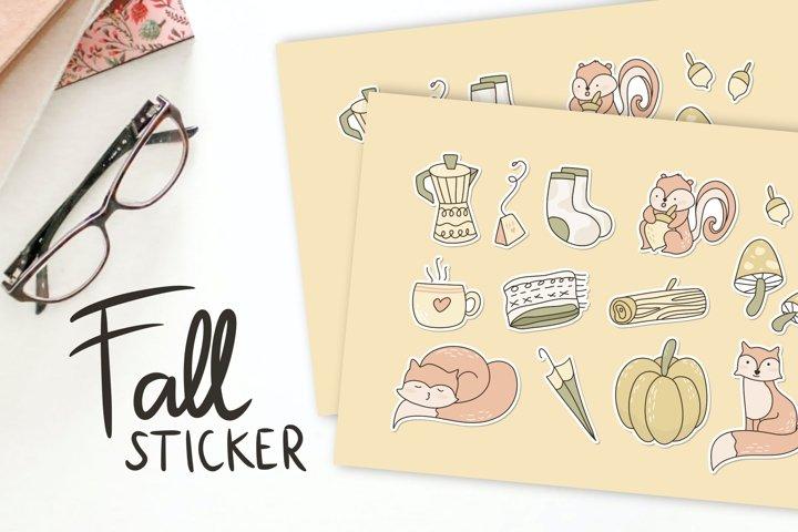 Pastel Autumn Stickers Illustration