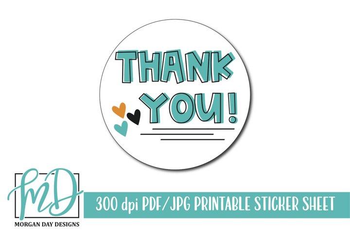 Thank You Printable Sticker Sheet