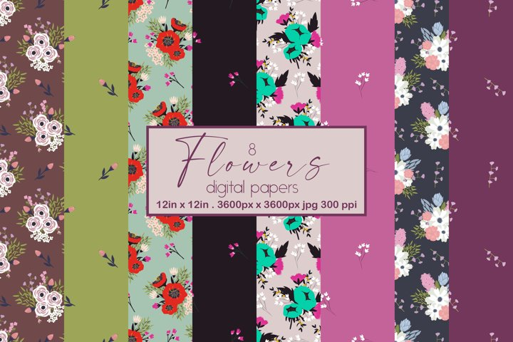 flowers digital papers - seamless pattern