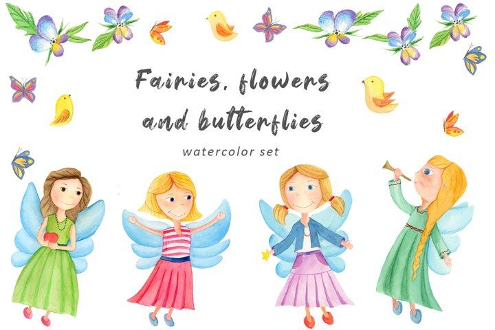 fairies, flowers and butterflies watercolor set