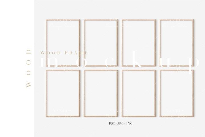 Wood Mockup Frame/Modern Simple A4 Design/JPG PNG PSD/M481