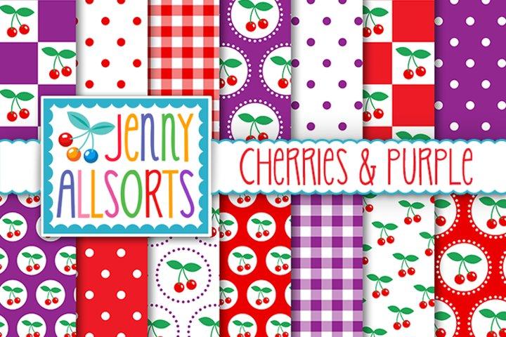 Cherries & Purple Patterns, Cute Background Digital Designs