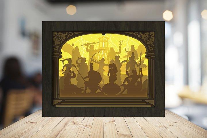 THE OLYMPIAN GODS 3D Paper Cut Light Box - Shadow box example 4