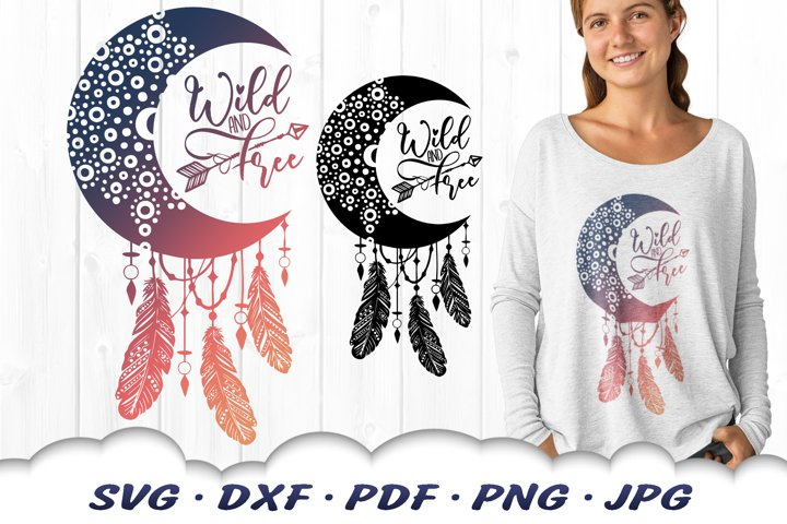 Wild & Free Dreamcatcher Mandala SVG DXF Cut Files