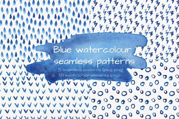 Blue watercolour seamless patterns set.