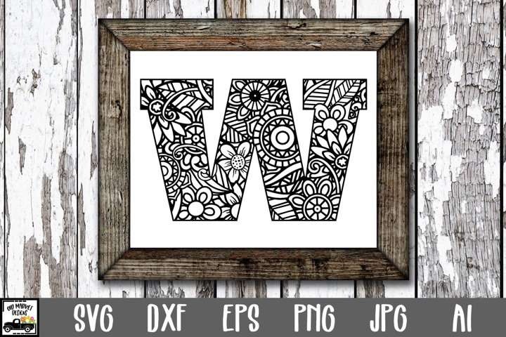 Letter W SVG Cut File|Mandala Monogram Letter W SVG File