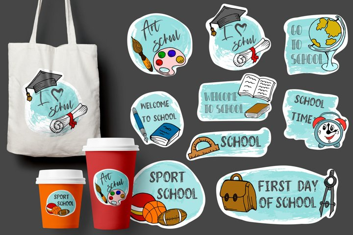 School Background. Sale tag. Vector illustration. Hand drawn