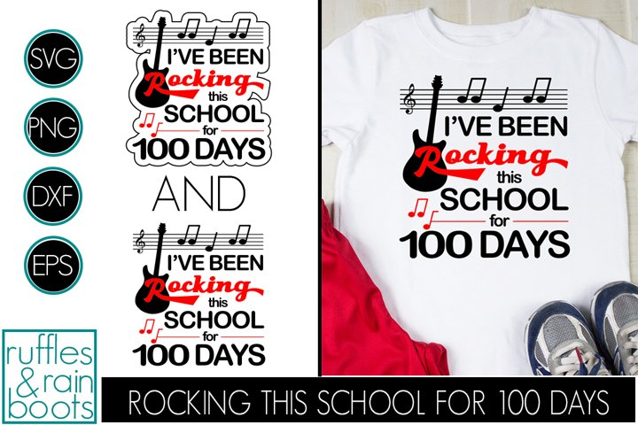 Rocking 100 Days of School SVG - Guitar Music Clipart