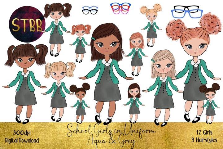 School Girls in Aqua Jumper / Cardigan and Grey Dress