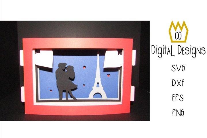 3D Paris Silhouette Valentine Card - SVG, DXF, EPS, PNG