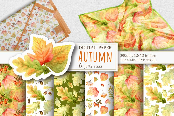 Autumn leaves watercolor patterns, Fall scrapbook paper