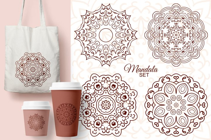 Mandala. Doodle drawing, ethnic motifs. 4 pictures