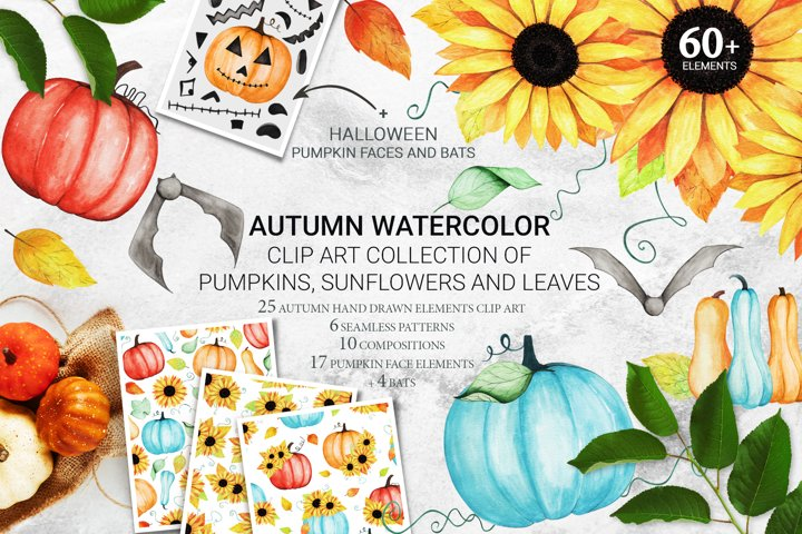 Watercolor Pumpkins, Sunflowers. Seamless Pattern. Halloween