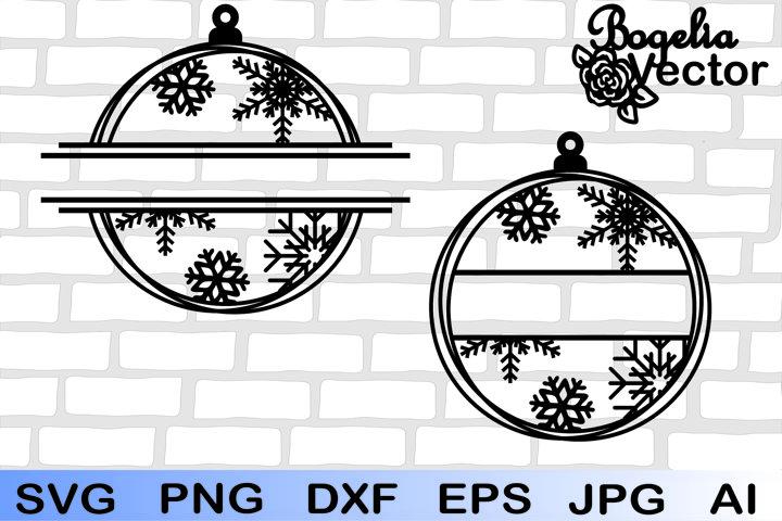 Christmas Ball Name Frame Svg, Monogram Snowflake Frame Svg