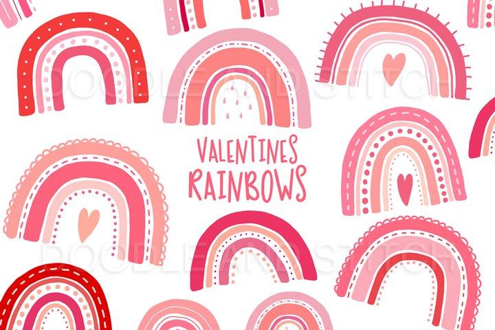 Valentines Rainbow Clipart Illustrations