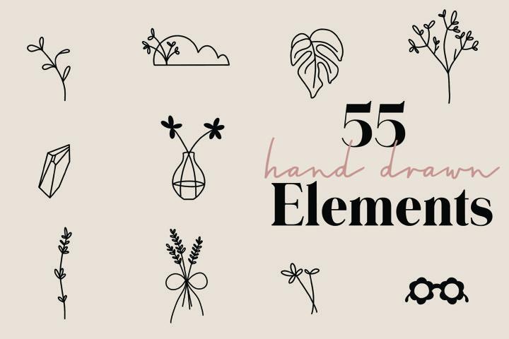 55 Hand Drawn Elements