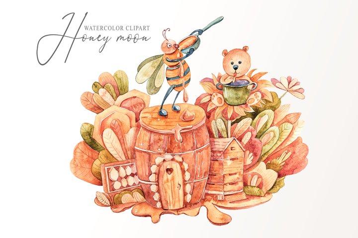 Watercolor honey bee and bear clipart. Nursery illustration