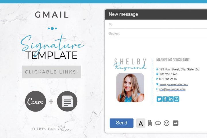 Email Signature | Canva & Gmail | Modern Blue