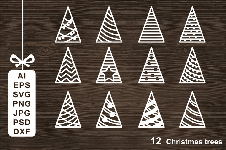 Christmas trees SVG Cut file for Crafters