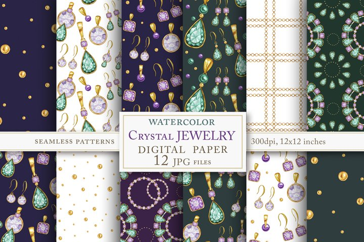 Jewelry Diamonds Crystal seamless pattern Watercolor set