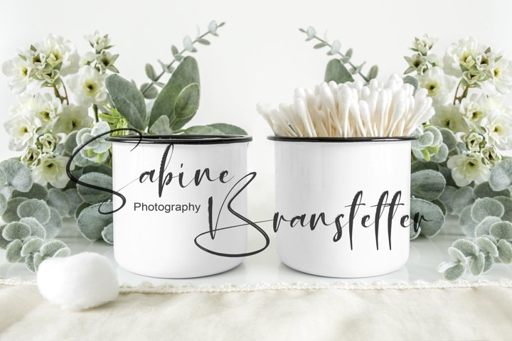 Styled Stock Photo Bathroom Jars, Container, Label Mockup