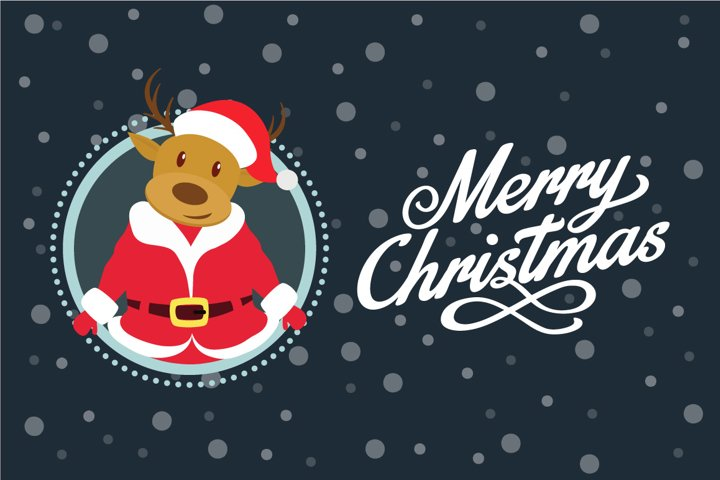 Santa Deer Christmas Greeting Card