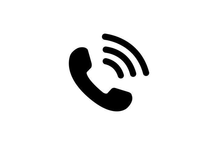 Call icon symbol vector. Phone black icon isolated