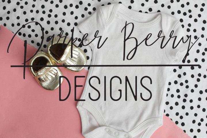 White Baby Bodysuit, Mock up Pink Black dot design mock up