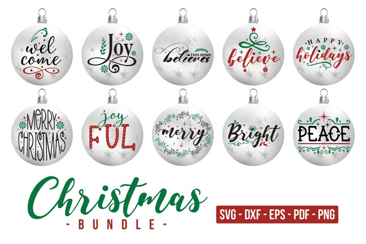 Christmas Ornaments Bundle SVG, Christmas Ornament Design
