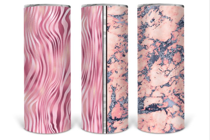 Full Wrap Marble 20oz Skinny Tumbler Sublimation Template