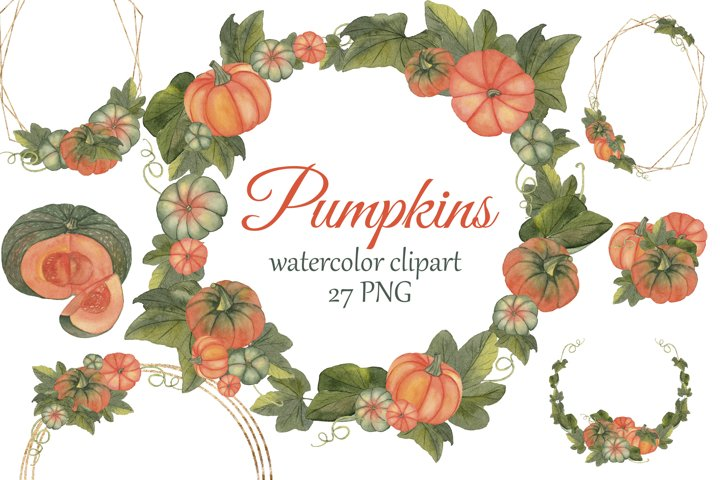 Watercolor Pumpkins Clipart. Fall PNG, pumpkins wreath