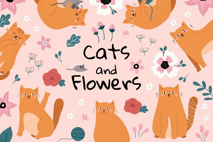 Funny Cats and Flowers clipart set