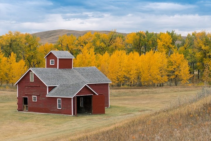 Red Barn in Autumn- Landscape Photography