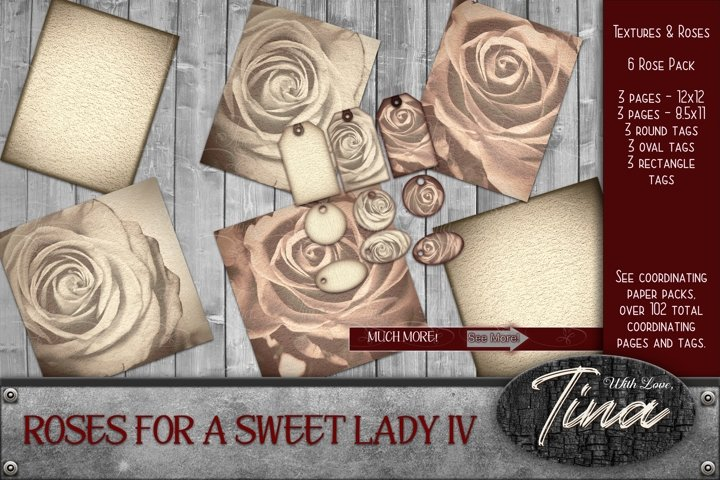 Faded Roses Scrapbook Paper Vintage 30pc
