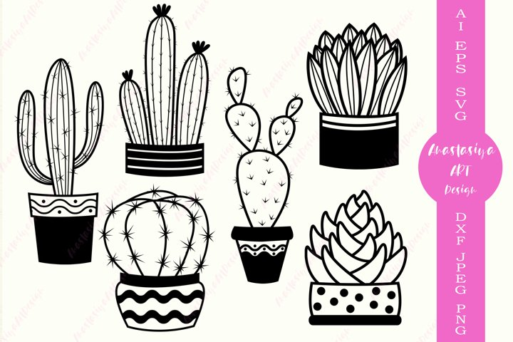 Cactus svg, Succulent svg, Monogram cactus svg, Silhouette
