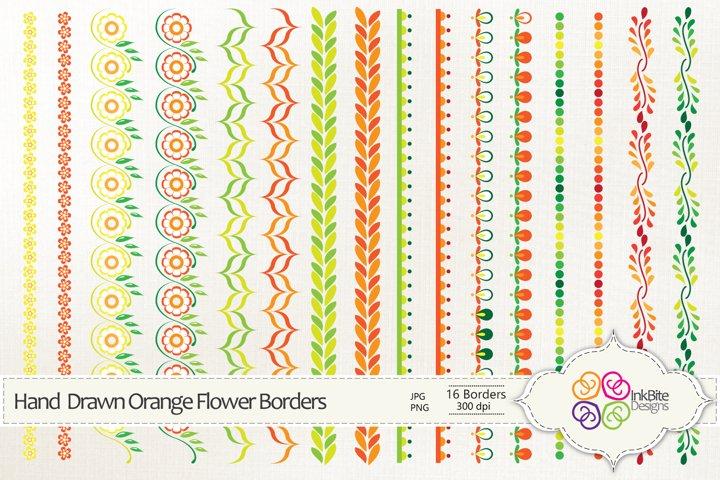 Hand Drawn Orange Flowers Borders