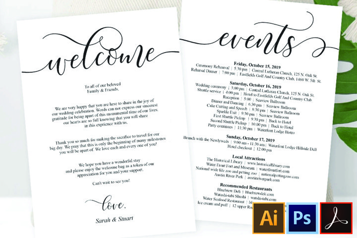 Wedding Welcome and Itinerary card, editable PDF template