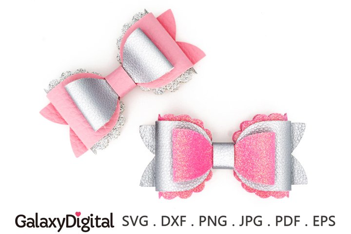Hair Bow SVG, Scalloped Hair Bow Template SVG