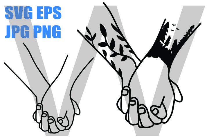 Holding hand 2 Designs with tattoo - PNG SVG EPS PNG