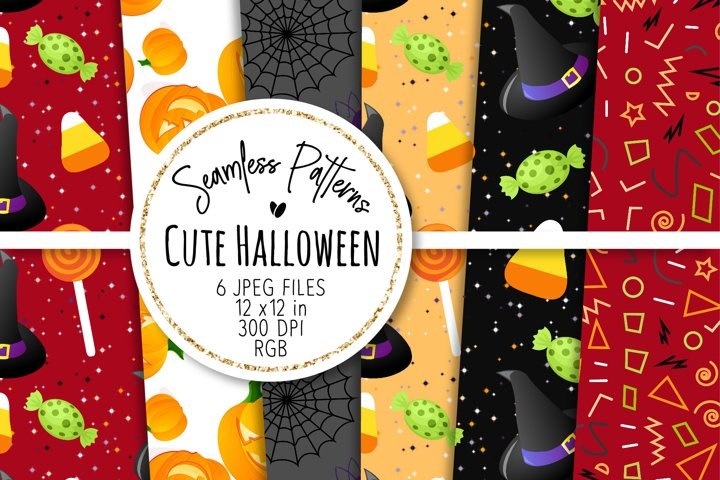 Cute Halloween Seamless Patterns 15