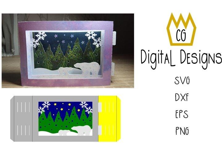 3D Polar Bear Card - SVG, DXF, EPS, PNG