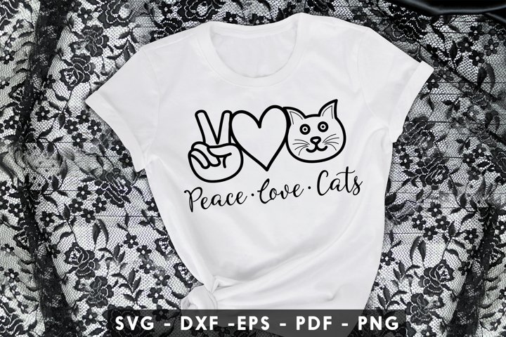 Peace Love Cats SVG, DXF, PDF, EPS, PNG