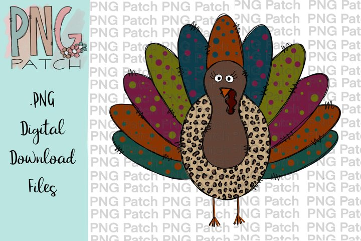 Wild Turkey Leopard Print, Fall PNG File, Sublimation