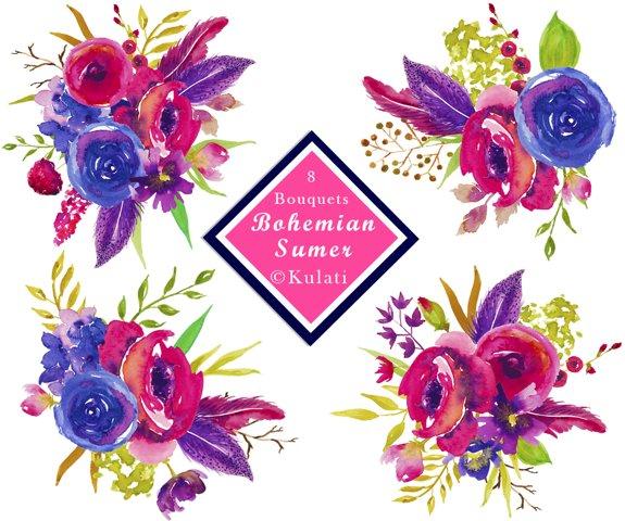 Watercolor Floral Bouquet Elements / Clipart