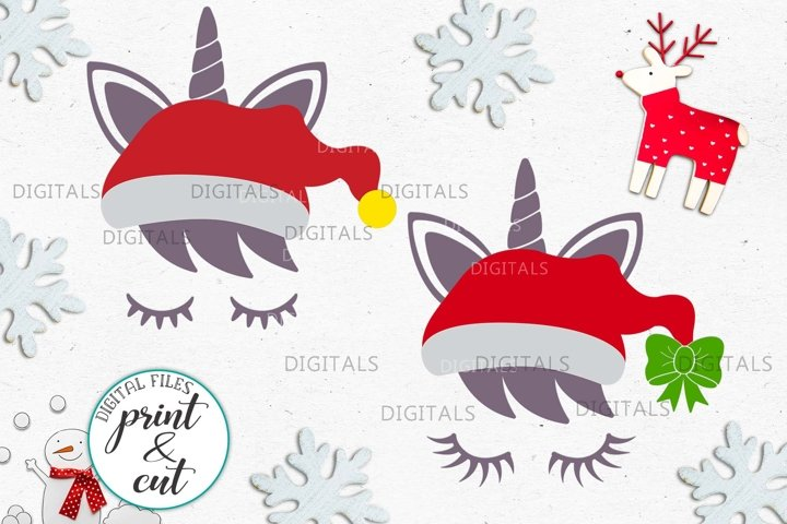 Christmas unicorn in Santa hat eyelashes svg pdf cut print