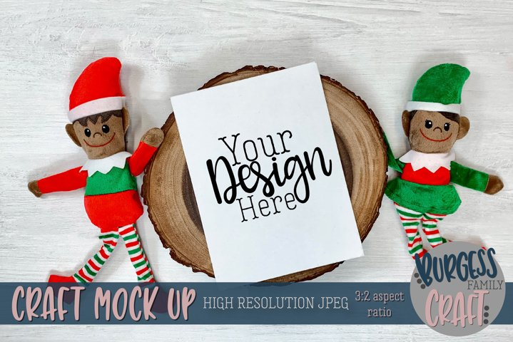 Christmas elf with vertical certificate V |Craft mock up
