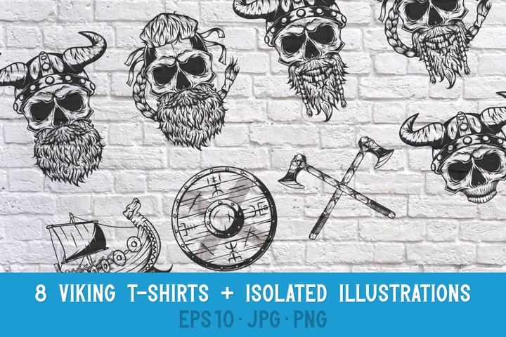 8 Vikings t-shirts