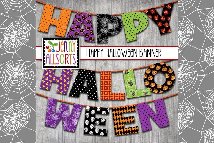 Printable Halloween Banner - 6 Letters - HAPPY HALLOWEEN